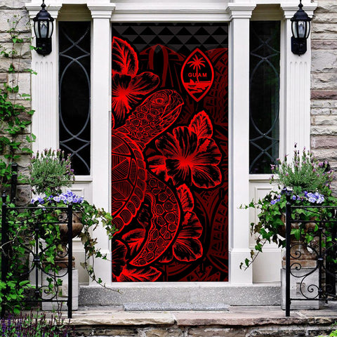 Image of Guam Door Cover Turtle Hibiscus Red