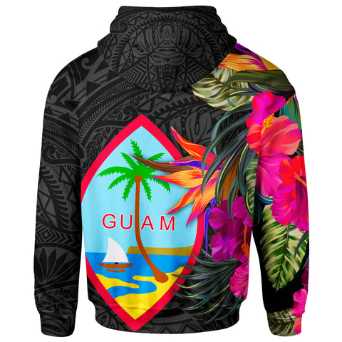 Image of Guam Zip Up Hoodie - Hibiscus Polynesian Pattern - BN39