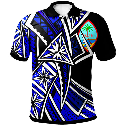 Guam Polo Shirt - Tribal Flower Special Pattern Blue Color - BN20