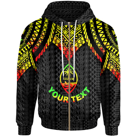 Image of Guam Custom Personalised Zip-Up Hoodie - Polynesian Armor Style Reagge - BN39