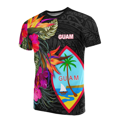 Guam All Over T-Shirt - Hibiscus Polynesian Pattern