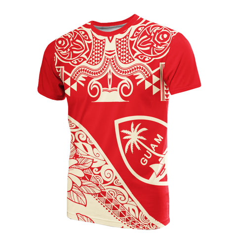 Image of Guam T-Shirt - Polynesian Pattern Red Color  - BN20