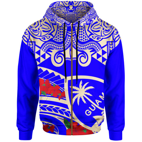 Guam Zip-Up Hoodie - Polynesian Pattern Vintage Style Blue Color - BN20