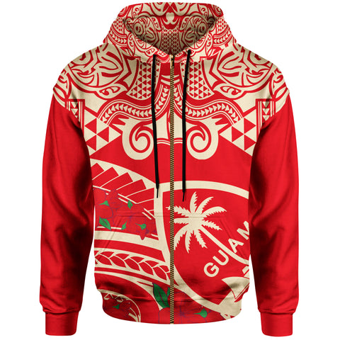 Guam Zip-Up Hoodie - Polynesian Pattern Vintage Style Red Color - BN20