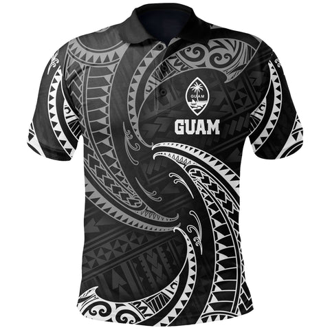 Image of Guam Polynesian Polo Shirt - White Tribal Wave