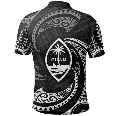 Image of Guam Polynesian Polo Shirt - White Tribal Wave - BN12