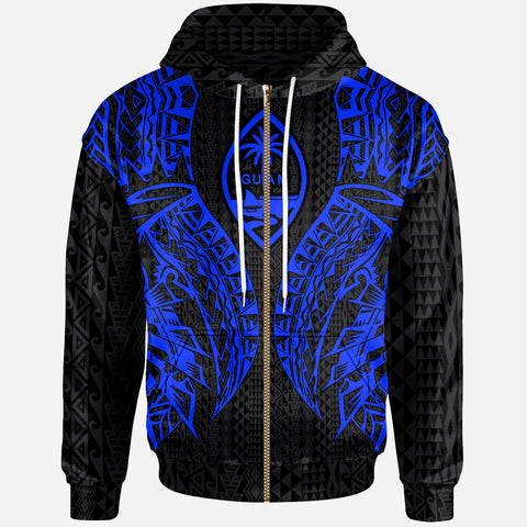 Guam Zip-Up Hoodie - Polynesian Lion Head Blue Style