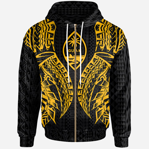 Guam Zip-Up Hoodie - Polynesian Lion Head Gold Style
