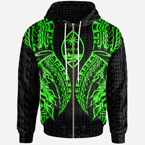 Guam Zip-Up Hoodie - Polynesian Lion Head Green Style