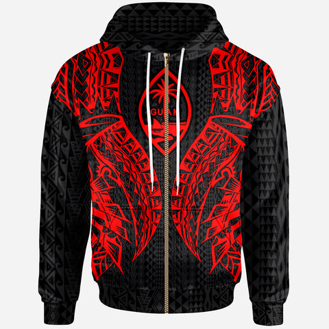 Guam Zip-Up Hoodie - Polynesian Lion Head Red Style