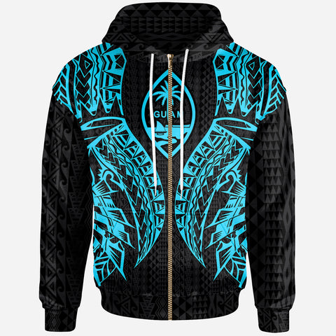 Image of Guam Zip-Up Hoodie - Polynesian Lion Head Neon Style