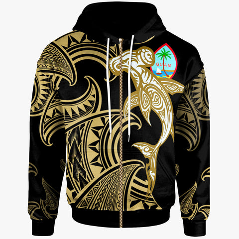 Image of Guam  Zip-Up Hoodie - Hammerhead Shark Tribal Pattern - BN20