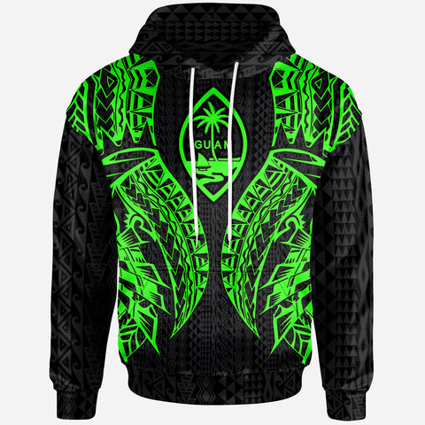Image of Guam Hoodie - Polynesian Lion Head Green Style
