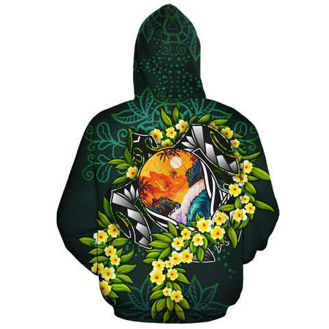 Polynesian Hawaii Zip-Up Hoodie - Ti Leaf Lei Turtle