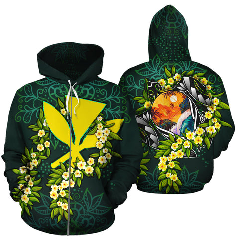 Image of Polynesian Hawaii Zip-Up Hoodie - Ti Leaf Lei Turtle