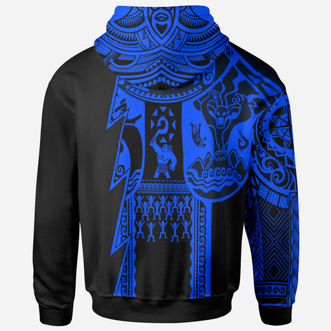 (Custom Text) Samoa All Over Hoodie - Samoa Coat Of Arms Blue New - BN17