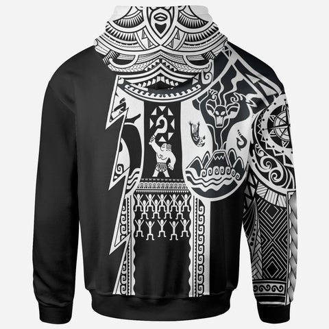 Image of (Custom Text) Samoa All Over Hoodie - Samoa Coat Of Arms White New - BN17
