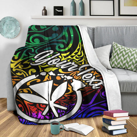 Hawaii Custom Personalised Premium Blanket - Rainbow Polynesian Pattern