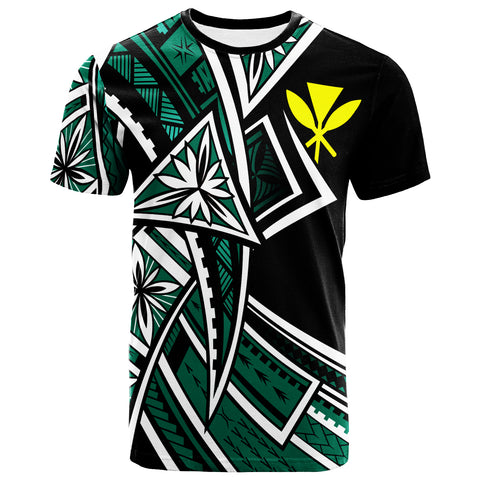 Image of Hawaii  T-Shirt - Tribal Flower Special Pattern Green Color - BN20