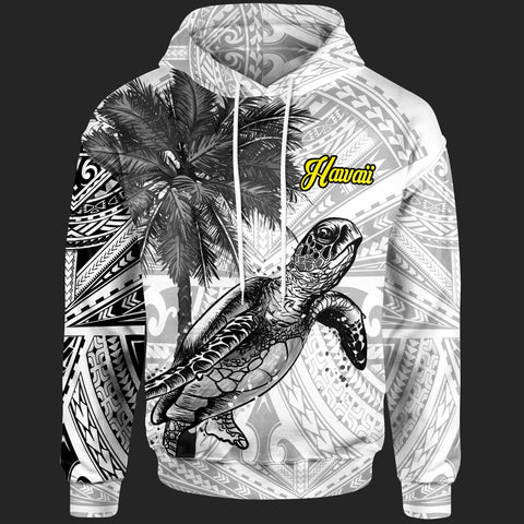 Hawaii Hoodie - Polynesian Turtle Palm Tree White - BN39