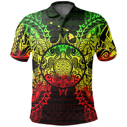 Polynesian Hawaii Polo Shirt - Map Turtle Reggae - BN39