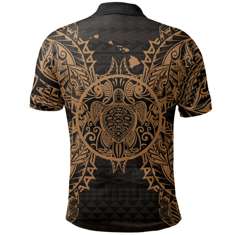 Hawaii Polynesian Polo Shirt - Turtle Gold - BN39