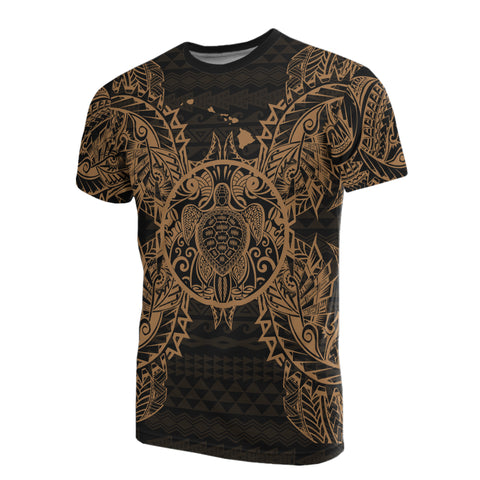 Polynesian Hawaii T-Shirt Turtle Gold - BN39