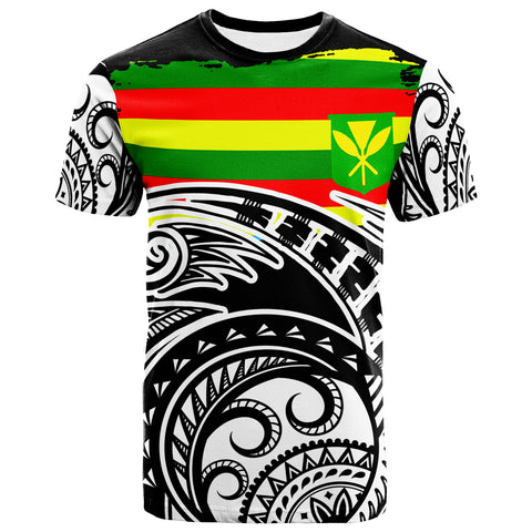 Hawaii Kanaka Maoli Custom Personalised T-Shirt - Ethnic Style With Round Black White Pattern - BN20