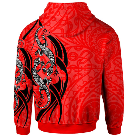Polynesian Hoodie - Polynesian Lizard Tattoo Red Color - BN20
