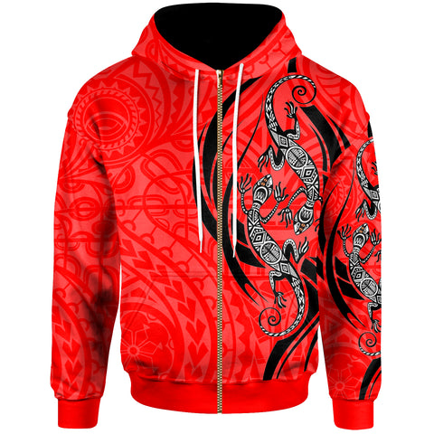 Polynesian Zip-Up Hoodie - Polynesian Lizard Tattoo Red Color - BN20
