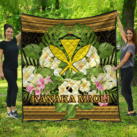 Hawaii Kanaka Maoli Premium Quilt - Polynesian Gold Patterns Collection