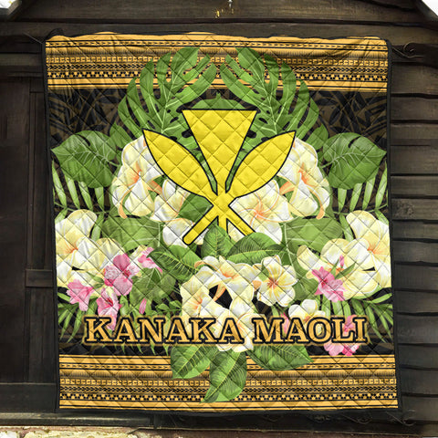 Hawaii Kanaka Maoli Premium Quilt - Polynesian Gold Patterns Collection - BN01