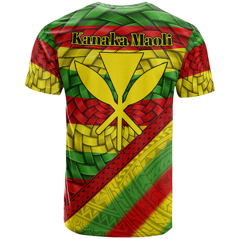 Hawaii T-Shirt, Kanaka Maoli Flag With Bamboo Patterns t-shirt