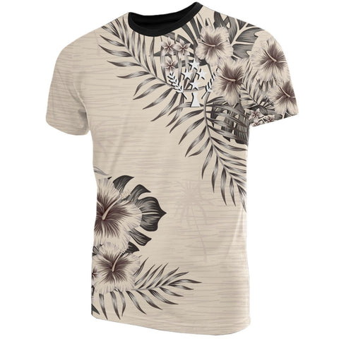 Kosrae T-Shirt The Beige Hibiscus Front