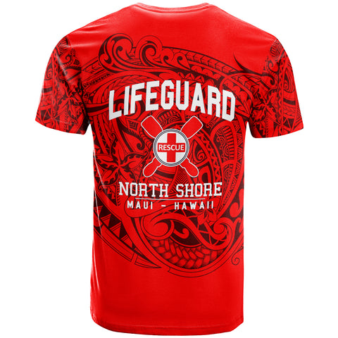 Hawaii T-shirt - Lifeguard North Shore MAUI Hawaii Unique Red - BN20