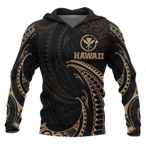 Image of Hawaii Polynesian All Over Hoodie - Gold Tribal Wave