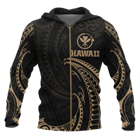 Hawaii Polynesian All Over Zip-Up Hoodie - Gold Tribal Wave
