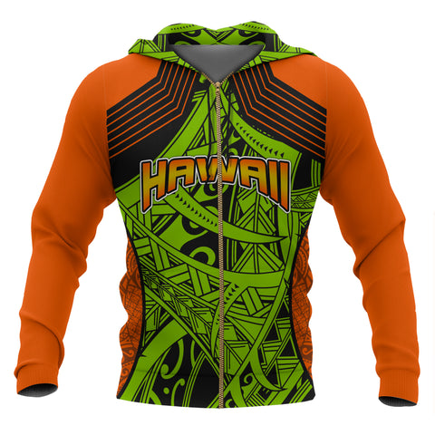 Image of Polynesian Hawaii All Over Zip-Up Hoodie - Tribal Wave