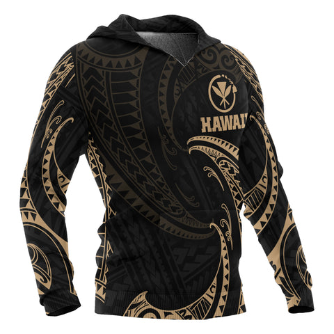Hawaii Polynesian Hoodie - Gold Tribal Wave - BN12