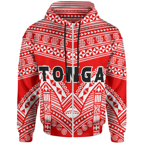 Image of Tonga Polynesian Tribal Pattern All Over Zip- Up Hoodie