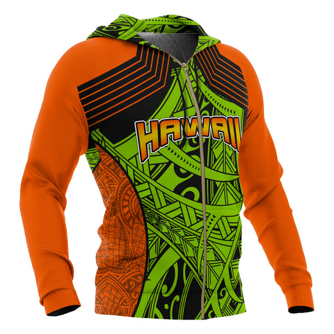 Image of Polynesian Hawaii All Over Zip-Up Hoodie - Tribal Wave - BN12