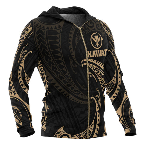 Image of Hawaii Polynesian All Over Zip-Up Hoodie - Gold Tribal Wave - BN12