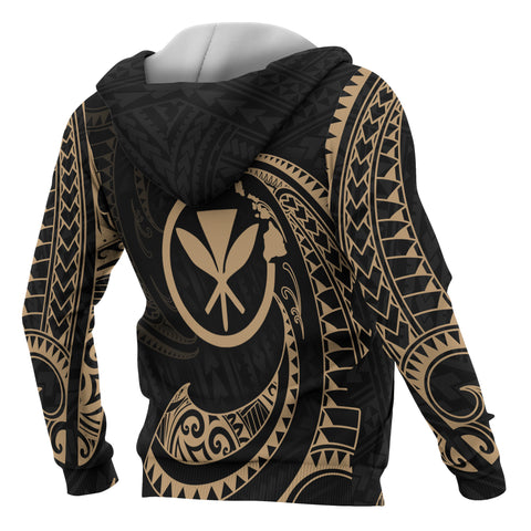 Hawaii Polynesian All Over Zip-Up Hoodie - Gold Tribal Wave - BN12
