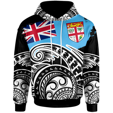 Image of Fiji Hoodie - Ethnic Style With Round Black White Pattern - BN20