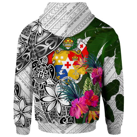 Image of Tonga Zip-Up Hoodie White - Turtle Plumeria Banana Leaf
