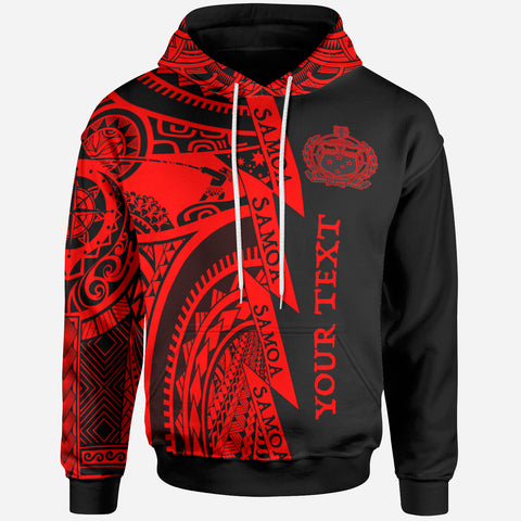 (Custom Text) Samoa All Over Hoodie - Samoa Coat Of Arms Red New - BN17