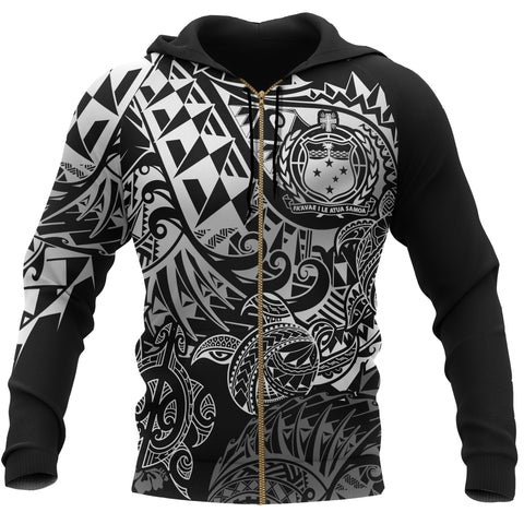 Image of Samoa Polynesian Zip-up Hoodie - White Turtle Flowing