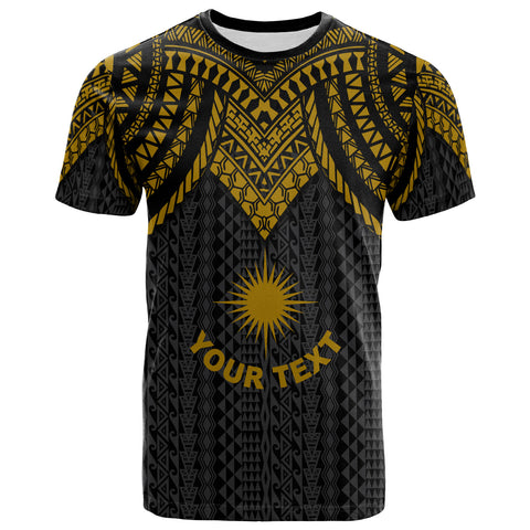 Marshall Islands Custom Personalised T-Shirt - Polynesian Armor Style Gold - BN39