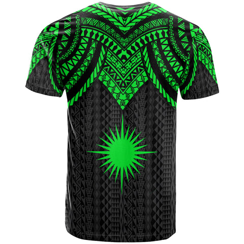 Marshall Islands Custom Personalised T-Shirt - Polynesian Armor Style Green - BN39
