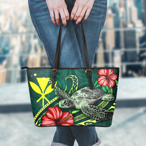 Hawaii Polynesian Leather Tote Bag - Green Turtle Hibiscus - BN12